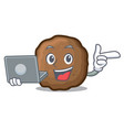 with laptop meatball character cartoon style vector image