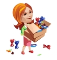 Woman buyer holding box with sweets vector image