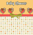 Delicate baby shower card with dressed birds vector image