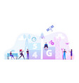 5g technology concept workers set up high-speed vector image vector image