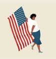 african american girl is dancing with usa flag vector image vector image