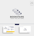 book stairs line art logo template icon element vector image vector image