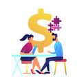 businesswoman at desk helps businessman solve vector image