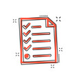 cartoon checklist icon in comic style document vector image vector image