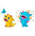 cartoon monsters playing of vector image vector image
