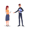 company workers conversation vector image