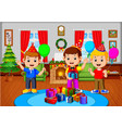 cute kids in the living room during christmas vector image vector image
