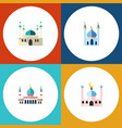 flat icon building set of islam structure muslim vector image vector image