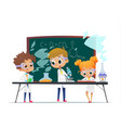 funny little girl doing and two boys experiments vector image vector image