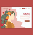 girl autumn nature landing page vector image vector image