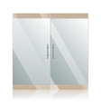 Glass doors with chrome silver handles set vector image vector image