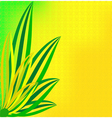 green leaves on a dim yellow background vector image