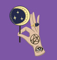 halloween ritual magic hand with moon candy vector image
