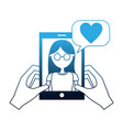 hands holding smartphone with woman talking love vector image