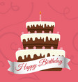 happy birthday sweet cake candle vector image vector image