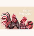 happy easter card with rooster and chicken vector image vector image