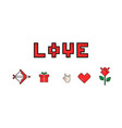 happy valentines day 8 bit pixel love message vector image