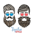 Hipsters heads colored glasses doodle pictograms vector image vector image