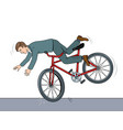 man falling of bicycle pop art vector image vector image