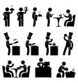 man restaurant waiter chef customer icon symbol vector image