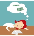 Manager sleeping in office dreaming of money vector image vector image