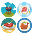 meat icons in flat design vector image vector image