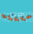 Merry Christmas card with cute cartoon deers vector image