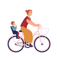 mother riding bike with baby in seat cute smiling vector image vector image