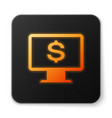 orange glowing computer monitor with dollar icon vector image vector image