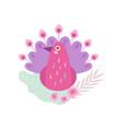 pink peacock bird symbol spring vector image