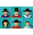 portrait korean people in traditional costume vector image vector image