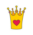 princess crown with heart isolated on white vector image vector image