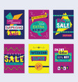 Purple navy blue and yellow funky sale cards set vector image
