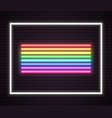 rainbow neon tube lights signboard sign on wall vector image vector image