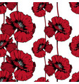 red poppies hand drawn seamless ink pen pattern vector image vector image