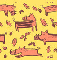 seamless pattern with cute boars background with vector image