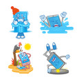 set cartoon smartphone vector image vector image