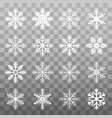 set white winter snowflake isolated on transparent vector image vector image