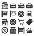 shop signboard and shopping icons set vector image vector image