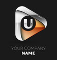 silver letter u logo in golden-silver triangle vector image vector image