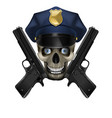 skull in a police cap and pistol vector image vector image