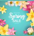 spring sale cute background with colorful flower vector image