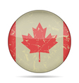 vintage button flag of Canada - grunge style vector image