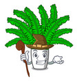 witch cartoon natural green fern in the forest vector image
