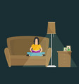 woman reading book sitting on couch concept vector image