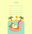 2018 june calendar with welsh corgi dog vector image vector image