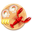 a seafood plate with lobster and scallop vector image vector image