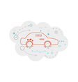 abstract map of the cloud with car and lines vector image vector image