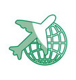 airplane and global sphere icon vector image vector image