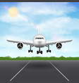 airplane landing on airport runway sky background vector image